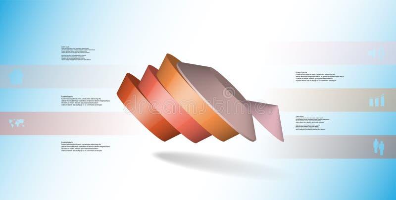molde infographic da ilustração 3D com o pentagon redondo dividido a cinco porções ilustração stock