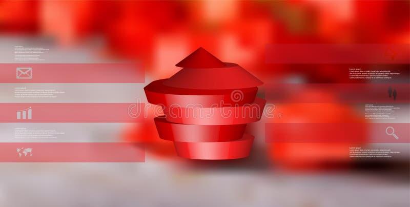 molde infographic da ilustração 3D com o pentagon redondo dividido a quatro porções ilustração royalty free