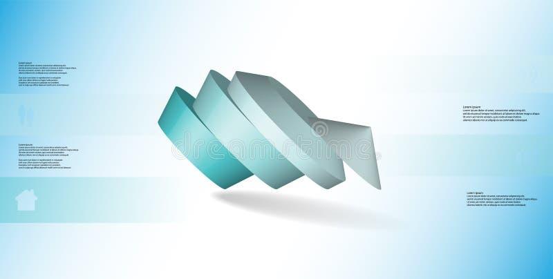 molde infographic da ilustração 3D com o pentagon redondo dividido a quatro porções ilustração stock