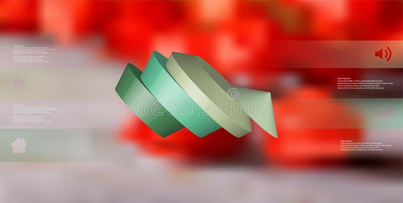 molde infographic da ilustração 3D com o pentagon redondo dividido a quatro porções ilustração do vetor