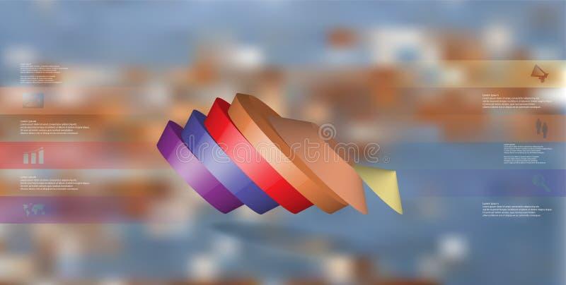 molde infographic da ilustração 3D com o pentagon redondo dividido a seis porções ilustração royalty free