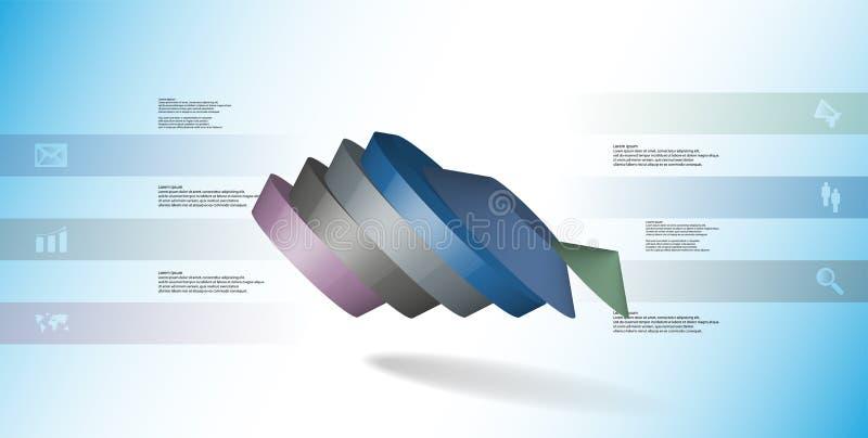 molde infographic da ilustração 3D com o pentagon redondo dividido a seis porções ilustração do vetor