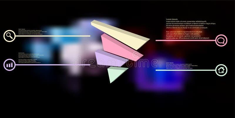 molde infographic da ilustração 3D com o triângulo gravado dividido aleatoriamente a quatro porções deslocadas ilustração royalty free