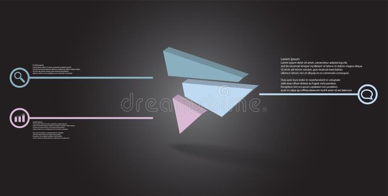 molde infographic da ilustração 3D com o triângulo gravado dividido aleatoriamente a três porções deslocadas ilustração do vetor
