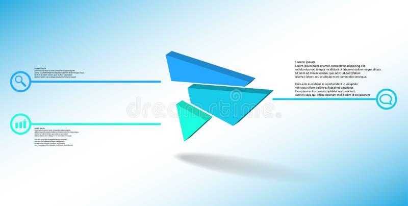 molde infographic da ilustração 3D com o triângulo gravado dividido aleatoriamente a três porções deslocadas ilustração stock