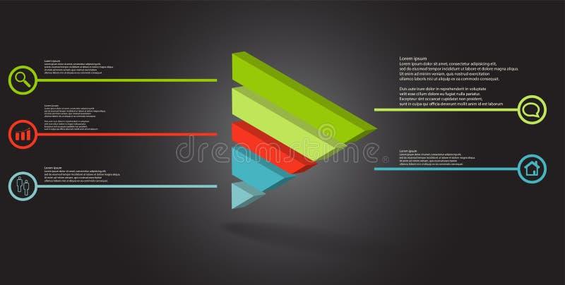 molde infographic da ilustração 3D com o triângulo gravado dividido a cinco porções ilustração do vetor