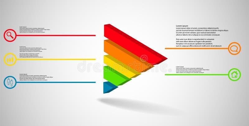 molde infographic da ilustração 3D com o triângulo gravado dividido a cinco porções ilustração royalty free