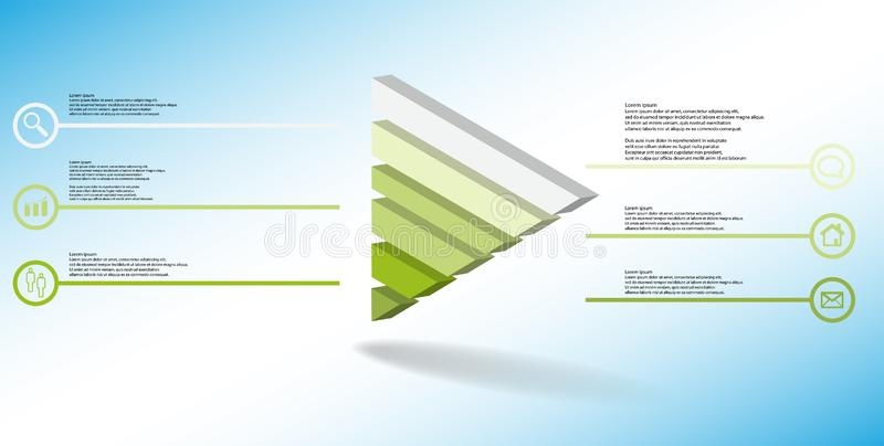 molde infographic da ilustração 3D com o triângulo gravado dividido a seis porções ilustração royalty free