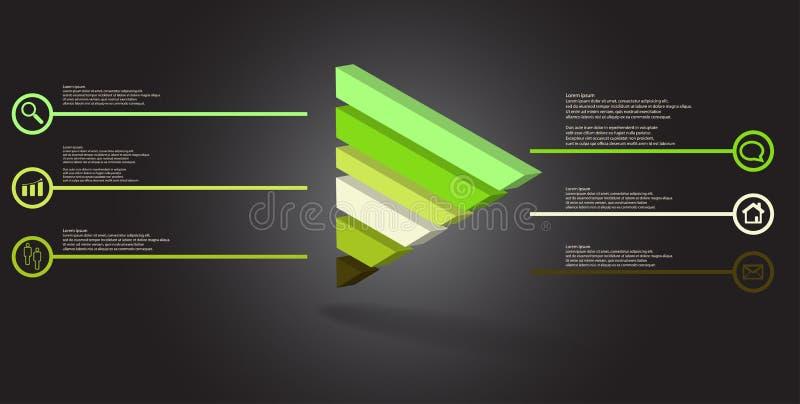 molde infographic da ilustração 3D com o triângulo gravado dividido a seis porções ilustração stock