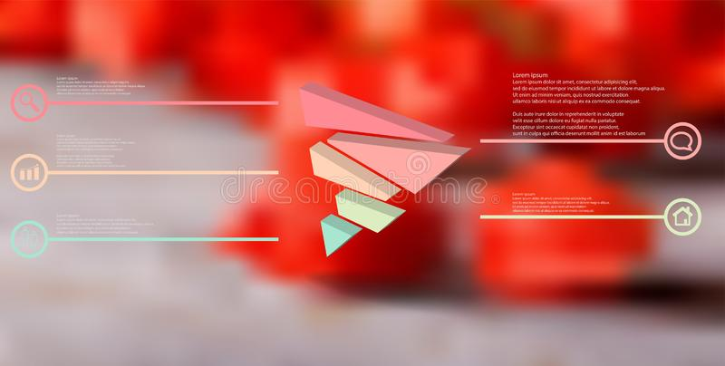 molde infographic da ilustra??o 3D com o tri?ngulo gravado dividido aleatoriamente a cinco por??es deslocadas ilustração do vetor