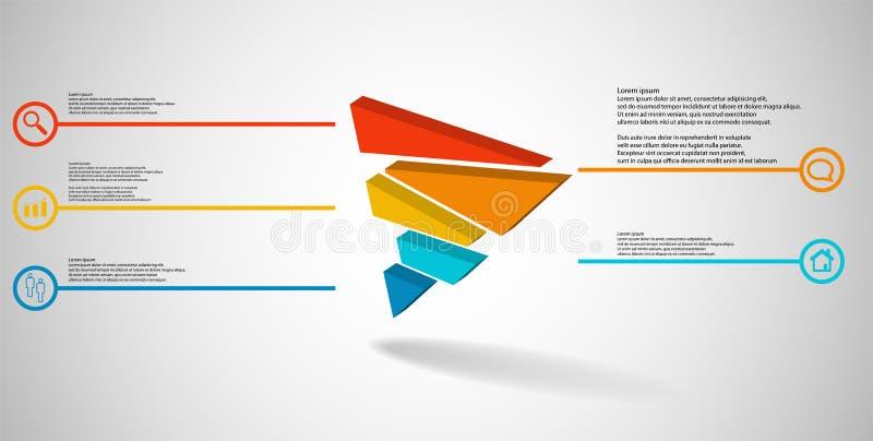 molde infographic da ilustra??o 3D com o tri?ngulo gravado dividido aleatoriamente a cinco por??es deslocadas ilustração stock