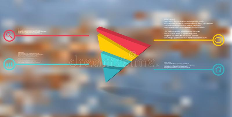 molde infographic da ilustra??o 3D com o tri?ngulo gravado dividido aleatoriamente a quatro por??es ilustração do vetor