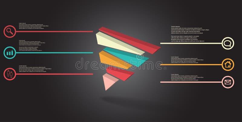 molde infographic da ilustra??o 3D com o tri?ngulo gravado dividido aleatoriamente a seis por??es deslocadas ilustração do vetor