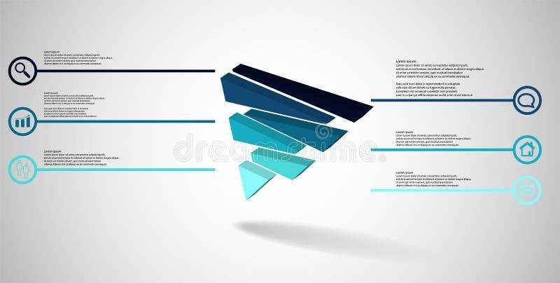 molde infographic da ilustra??o 3D com o tri?ngulo gravado dividido aleatoriamente a seis por??es deslocadas ilustração royalty free