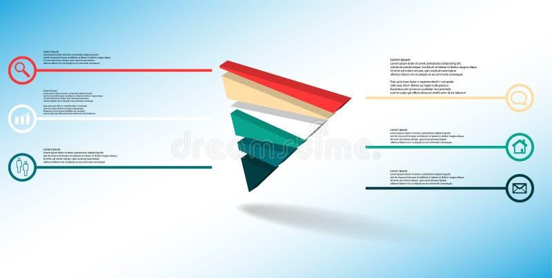 molde infographic da ilustra??o 3D com o tri?ngulo gravado dividido aleatoriamente a seis por??es ilustração do vetor