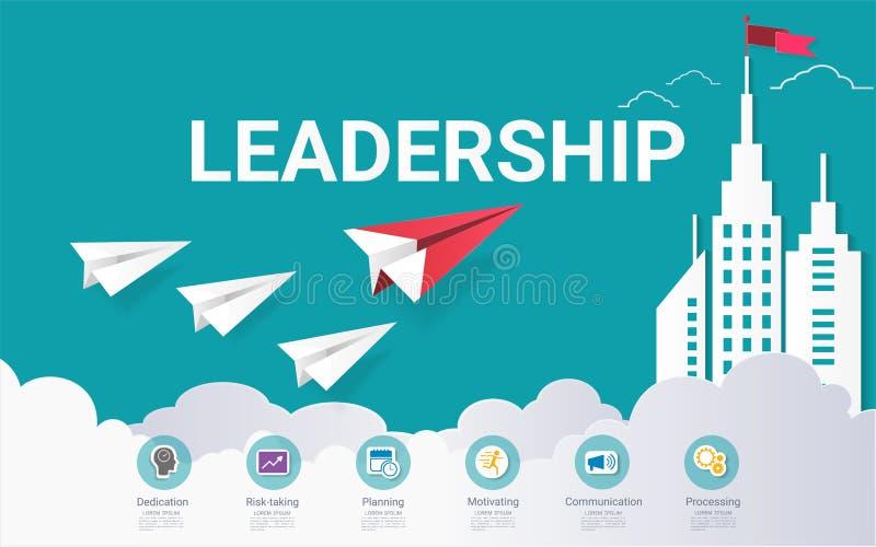 Molde infographic das habilidades da liderança, com algumas etapas ou opções simples para ajudá-lo a projetar para seu negócio ilustração stock