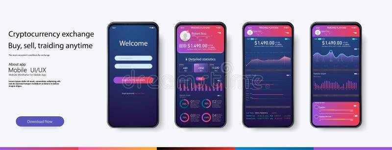 Molde infographic do app móvel com estatísticas semanais e anuais do projeto moderno ilustração do vetor
