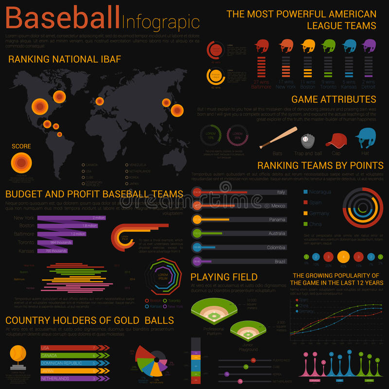 Molde infographic do basebol com cartas ilustração stock