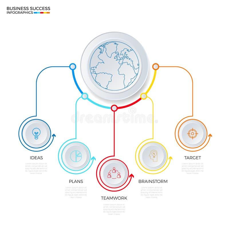 Molde infographic do círculo bem sucedido do conceito do negócio ilustração royalty free