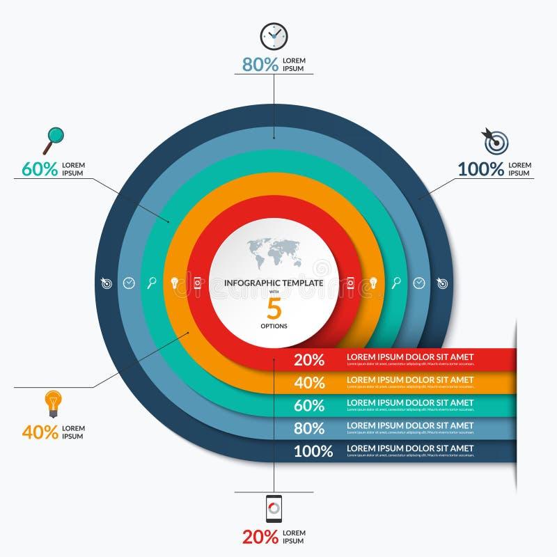 Molde infographic do círculo com 5 opções ilustração stock