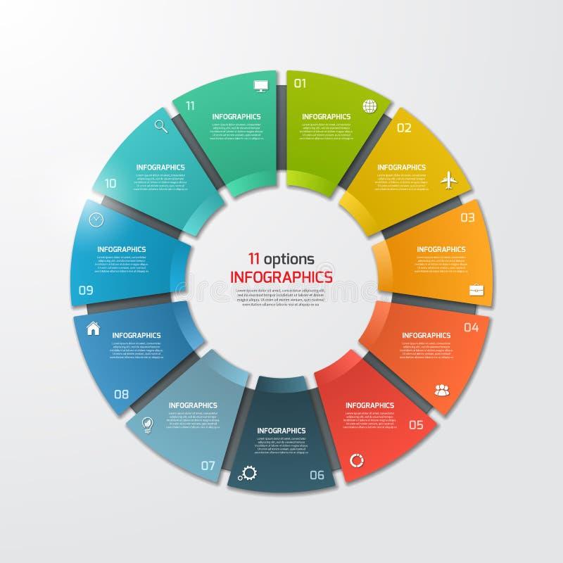 Molde infographic do círculo da carta de torta com 11 opções ilustração royalty free