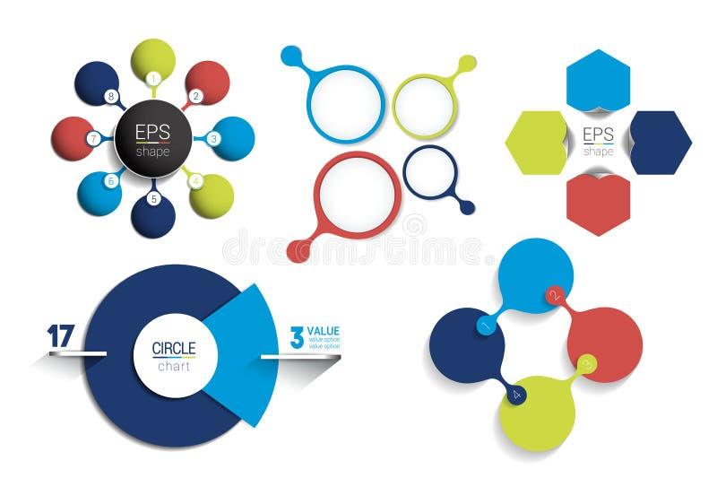 Molde infographic do círculo Diagrama líquido redondo, gráfico, apresentação, carta Conceito conectado com 8 bolhas, opções, etap ilustração royalty free