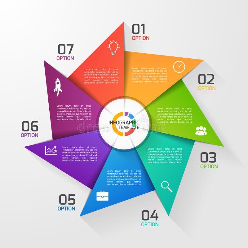 Molde infographic do círculo do estilo do moinho de vento para gráficos, cartas ilustração do vetor