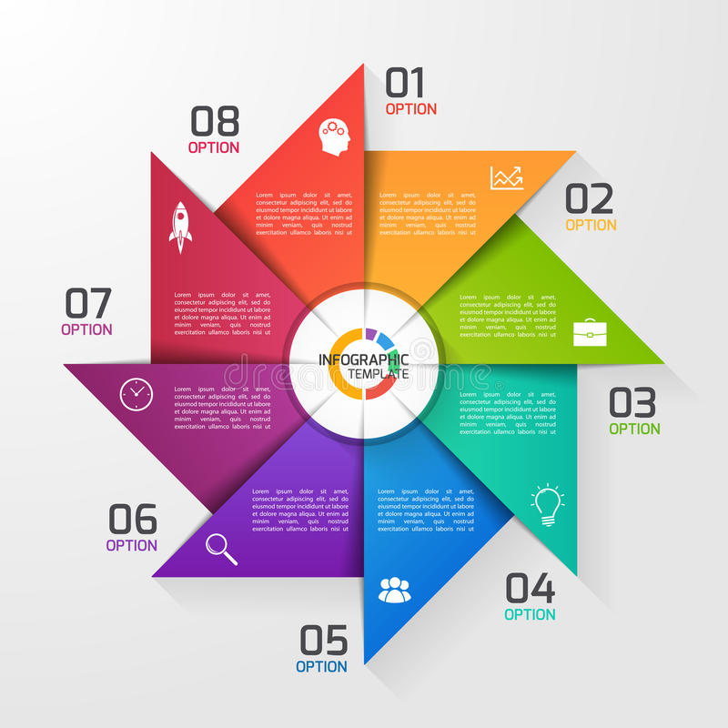 Molde infographic do círculo do estilo do moinho de vento para gráficos, cartas ilustração royalty free