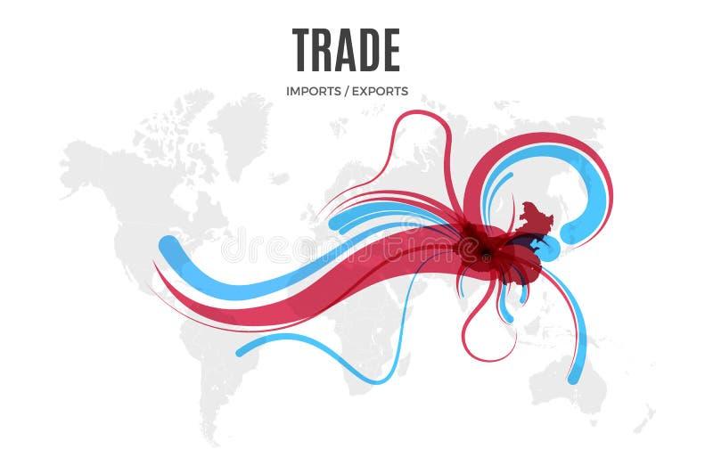 Molde infographic do comércio do vetor Mapa da importação e da exportação da cor para sua ilustração ou apresentação ilustração stock