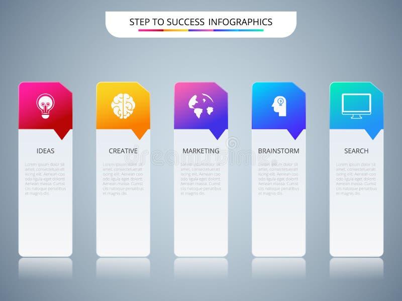Molde infographic do conceito bem sucedido do negócio Infographics com ícones e elementos ilustração do vetor