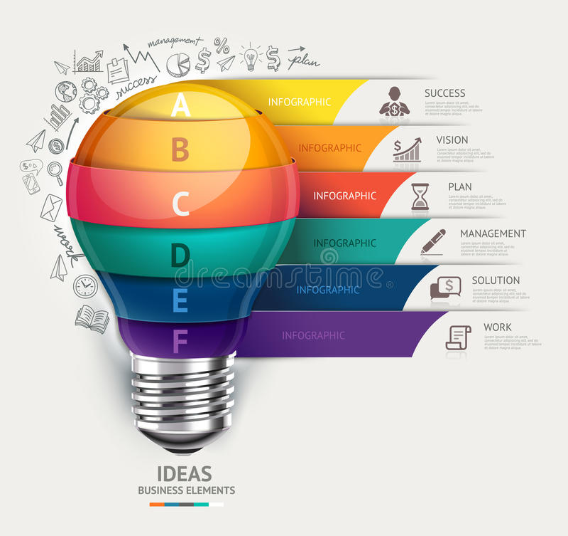 Molde infographic do conceito do negócio Ampola e ico das garatujas ilustração stock