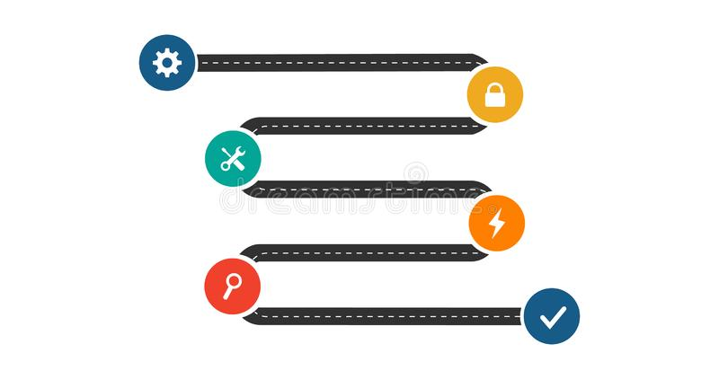Molde infographic do espaço temporal do mapa de estradas do negócio com círculos e ícones, tecnologia de processamento moderna do ilustração royalty free