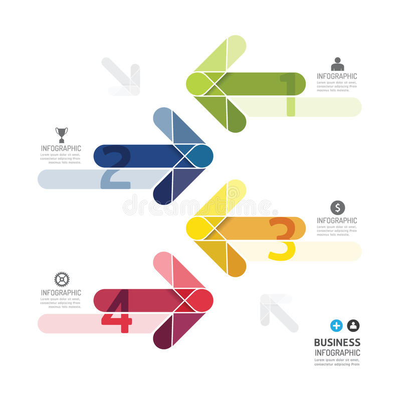 Molde infographic do estilo mínimo das setas da cor do projeto moderno ilustração do vetor