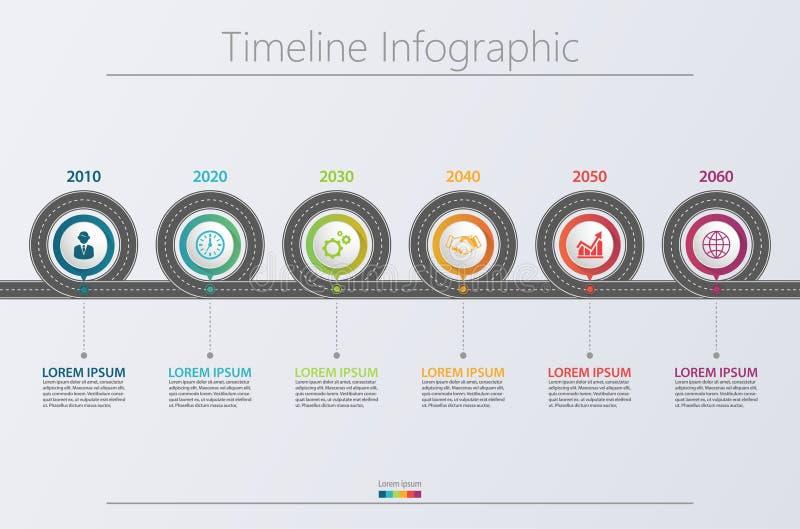 Molde infographic do mapa de estradas do negócio da apresentação com 6 opções imagem de stock