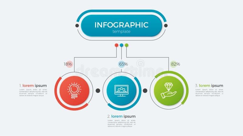 Molde infographic do negócio da apresentação com 3 opções ilustração do vetor