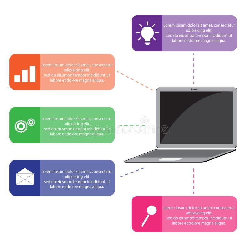 Molde infographic do neg?cio do vetor Infographic moderno com port?til ilustração royalty free