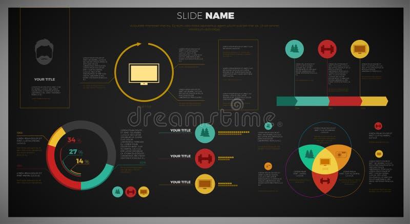 Molde infographic do projeto da vista geral de Vetor Empresa com rede no fundo - versão escura ilustração do vetor