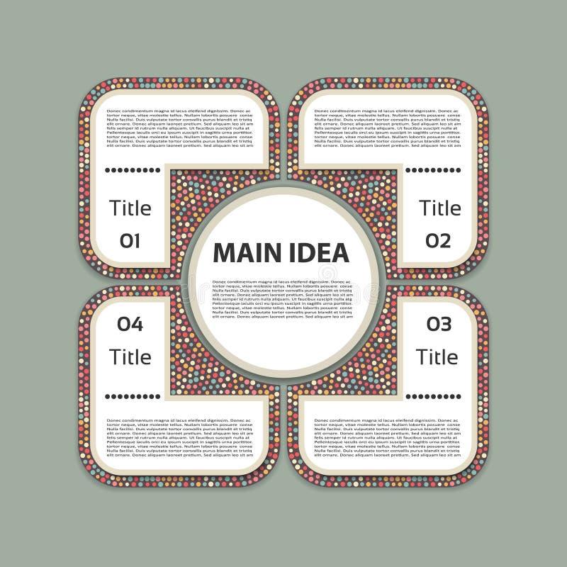 Molde infographic do projeto do vetor Conceito do negócio com 4 opções, porções, etapas ou processos Pode ser usado para a dispos ilustração do vetor