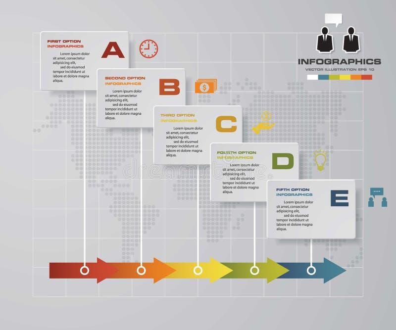 Molde infographic do projeto do vetor de 5 etapas do espaço temporal Pode ser usado para processos dos trabalhos ilustração do vetor