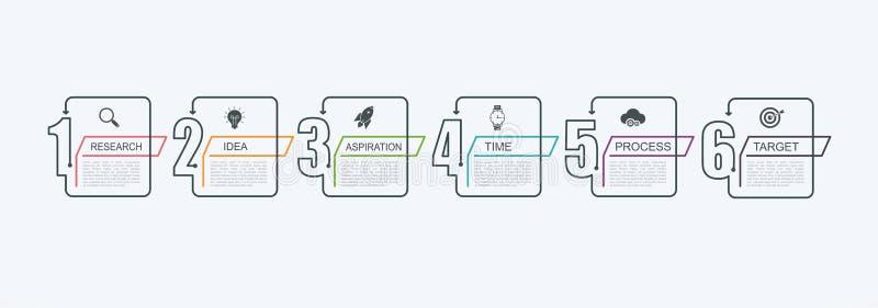 Molde infographic do projeto do espaço temporal com estrutura da etapa O conceito do negócio com 6 opções remenda ou pisa Diagram ilustração stock