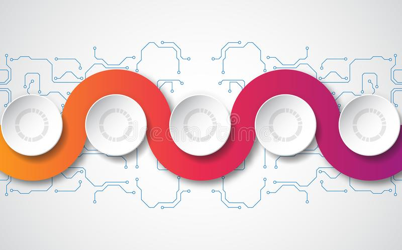 Molde infographic do vetor com etiqueta do papel 3D, círculos integrados Pode ser usado para a disposição dos trabalhos, diagrama ilustração stock