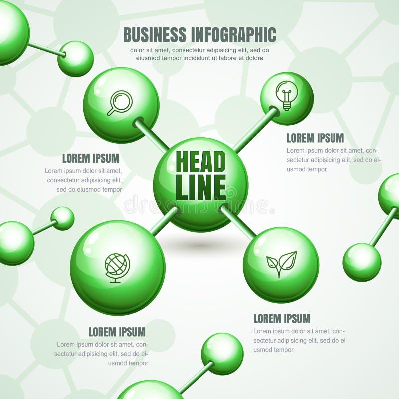 Molde infographic do vetor Fundo abstrato com toupeira verde ilustração do vetor