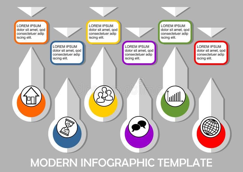 Molde infographic moderno com elementos cortados de papel, seis elementos em claro - fundo cinzento, objetos coloridos com ilustração royalty free