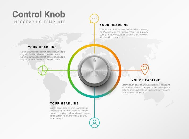 Molde infographic moderno minimalistic do vetor com o botão de controle metálico e as quatro etapas ou opções com o mapa do mundo ilustração royalty free