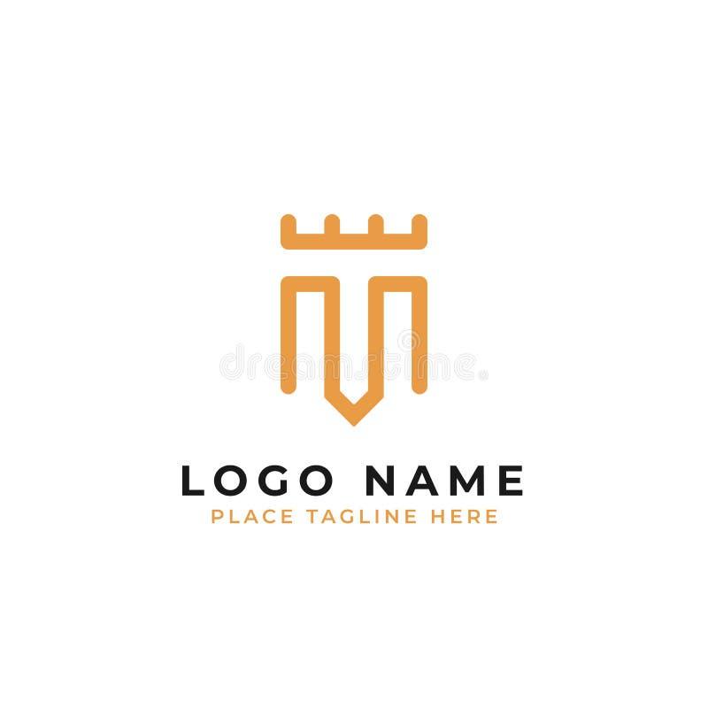 Molde inicial do logotipo da letra m símbolo elegante com projeto real do vetor do conceito do castelo ilustração royalty free