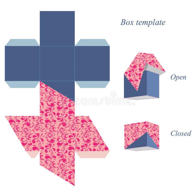Molde interessante da caixa quadrada com tampa, teste padrão floral ilustração royalty free
