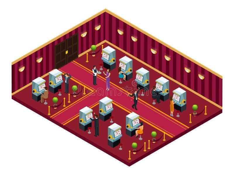 Molde interior da sala do casino isométrico ilustração royalty free