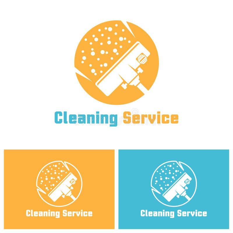 Molde isolado serviço do logotipo do vetor da limpeza ilustração stock
