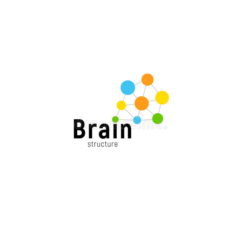 Molde isolado vetor de ataque do logotipo do negócio do cérebro Pontos conectados da mente logotype criativo colorido Pontilha si ilustração stock