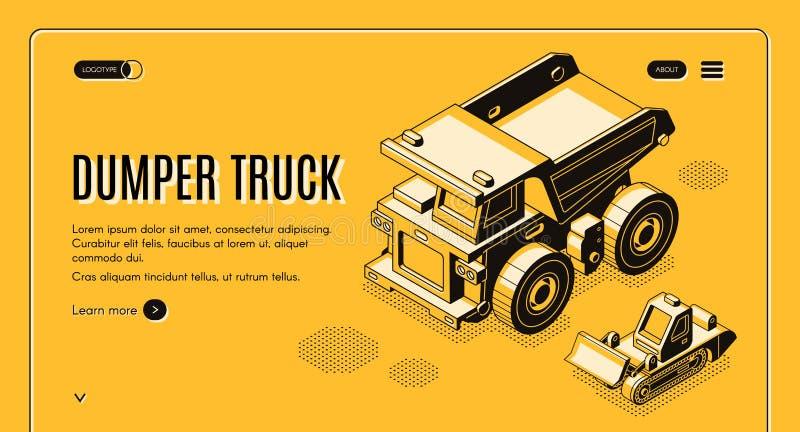 Molde isométrico da bandeira da Web do vetor do caminhão de descarregador ilustração stock